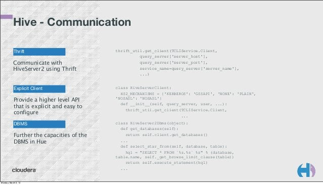 Hive - Communication Thrift  Communicate with HiveServer2 using Thrift  Explicit Client  Provide a higher level API that i...
