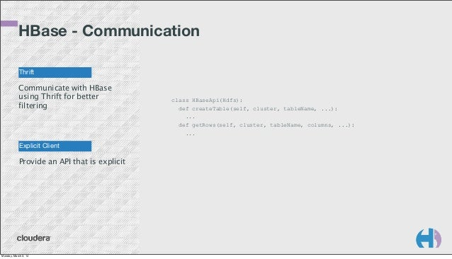 HBase - Communication Thrift  Communicate with HBase using Thrift for better filtering  Explicit Client  Provide an API th...