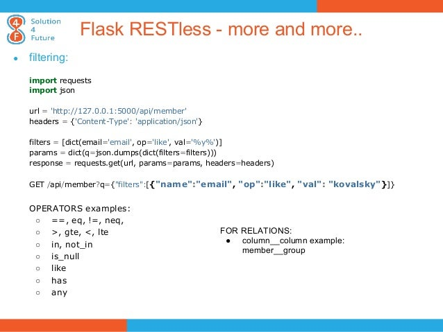 Python RESTful webservices with Python: Flask and Django solutions