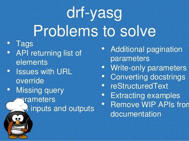 Documenting an API written in Django Rest Framework