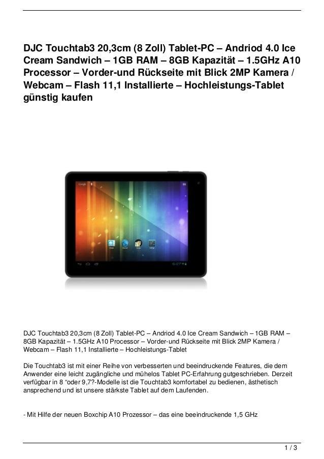 DJC Touchtab3 20,3cm (8 Zoll) Tablet-PC – Andriod 4.0 IceCream Sandwich – 1GB RAM – 8GB Kapazität – 1.5GHz A10Processor – ...