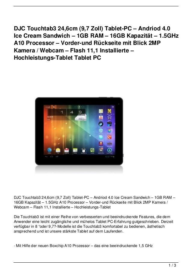 DJC Touchtab3 24,6cm (9,7 Zoll) Tablet-PC – Andriod 4.0Ice Cream Sandwich – 1GB RAM – 16GB Kapazität – 1.5GHzA10 Processor...