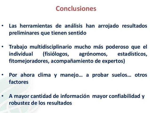 Conclusiones • Las herramientas de análisis han arrojado resultados preliminares que tienen sentido • Trabajo multidiscipl...