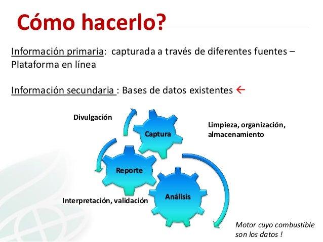 Cómo hacerlo? Información primaria: capturada a través de diferentes fuentes – Plataforma en línea Información secundaria ...