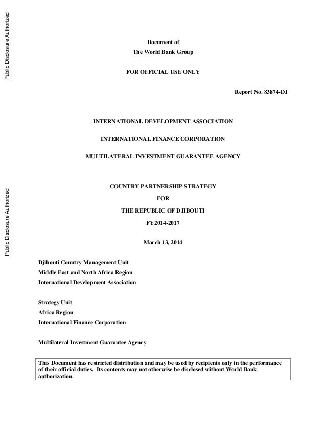 Document of The World Bank Group FOR OFFICIAL USE ONLY Report No. 83874-DJ INTERNATIONAL DEVELOPMENT ASSOCIATION INTERNATI...
