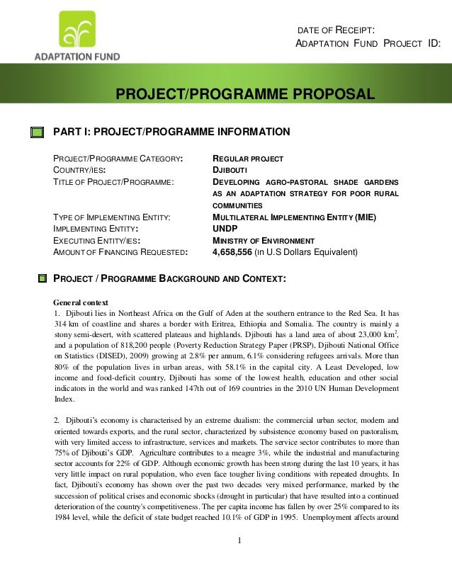 1 PART I: PROJECT/PROGRAMME INFORMATION PROJECT/PROGRAMME CATEGORY: REGULAR PROJECT COUNTRY/IES: DJIBOUTI TITLE OF PROJECT...
