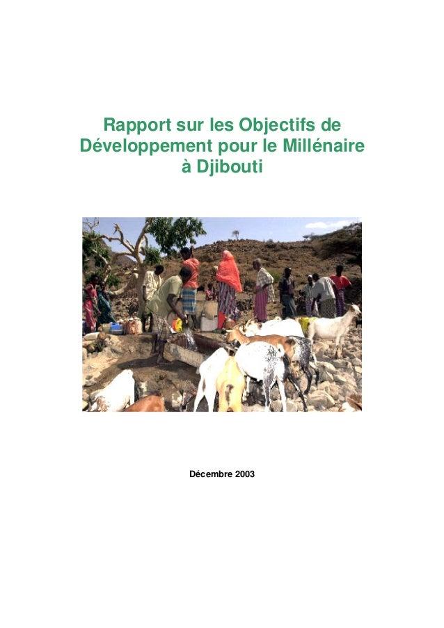 Rapport sur les Objectifs de Développement pour le Millénaire à Djibouti Décembre 2003