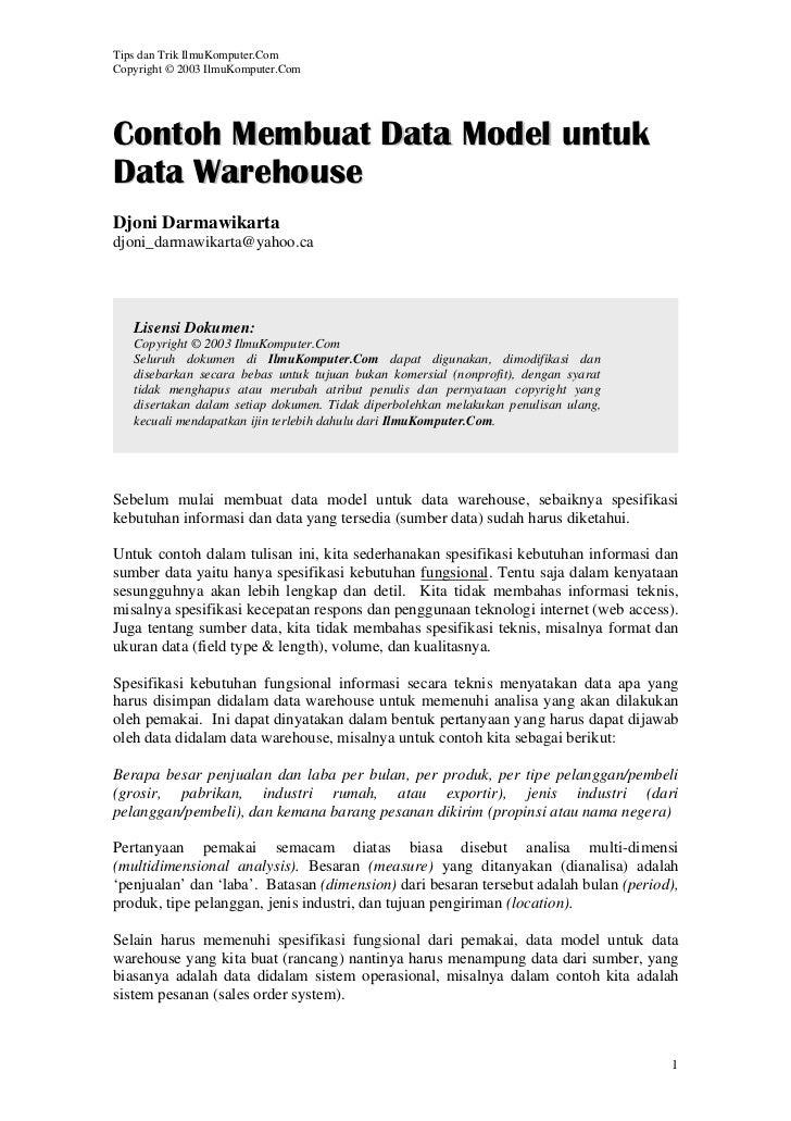 Tips dan Trik IlmuKomputer.ComCopyright © 2003 IlmuKomputer.ComContoh Membuat Data Model untukData WarehouseDjoni Darmawik...