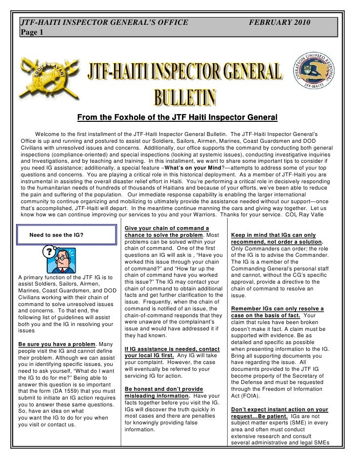 JTF-HAITI INSPECTOR GENERAL'S OFFICE                                                          FEBRUARY 2010  Page 1       ...