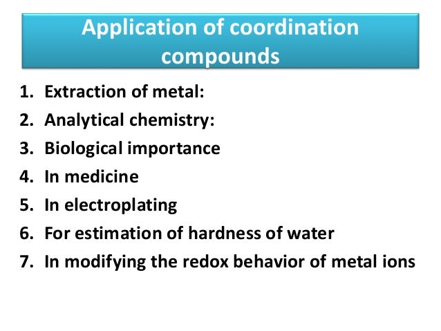 cordination compounds essay Coordination compounds • how do we think about transition metals binding to other atoms • what do those d orbitals do • we call them, coordination compounds.