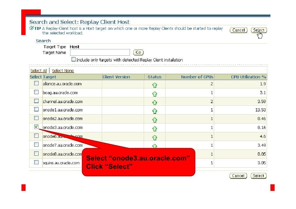 "Select ""onode3.au.oracle.com"" Click ""Select"""