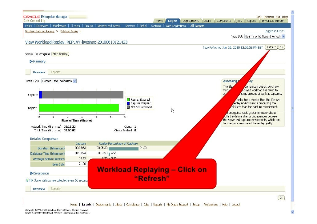 """Workload Replaying – Click on          """"Refresh"""""""