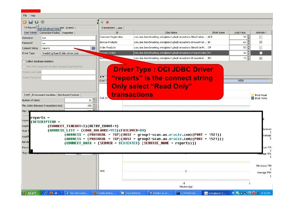 """Driver Type : OCI JDBC Thin """"oltp"""" is the service Only select all transactions"""