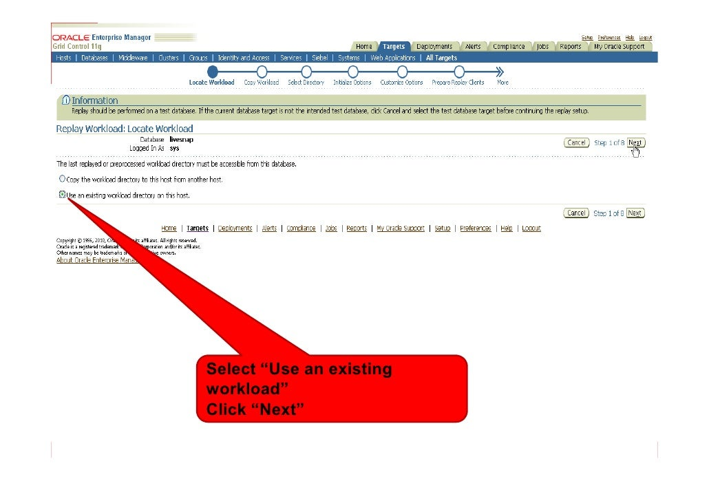 """Select """"Use an existing workload"""" Click """"Next"""""""