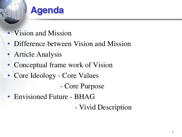 1 Agenda • Vision and Mission • Difference between Vision and Mission • Article Analysis • Conceptual frame work of Vision...