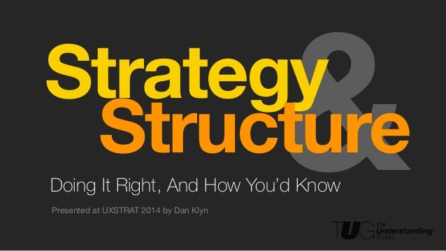 ! ! &Doing It Right, And How You'd Know Presented at UXSTRAT 2014 by Dan Klyn ! Strategy! Structure