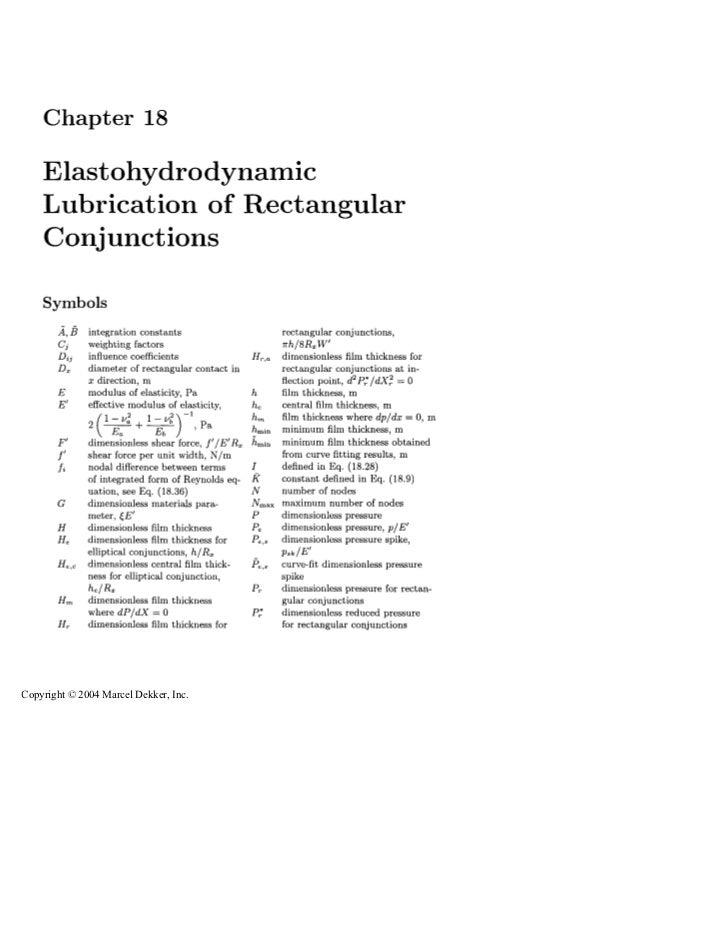 Chapter 18    Elastohydrodynamic    Lubrication of Rectangular    Conjunctions    Symbols              integration constan...
