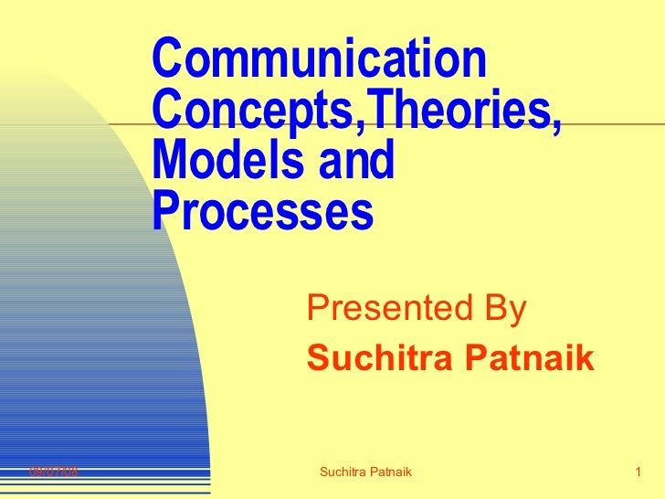 Communication Concepts,Theories, Models and Processes Presented By Suchitra Patnaik