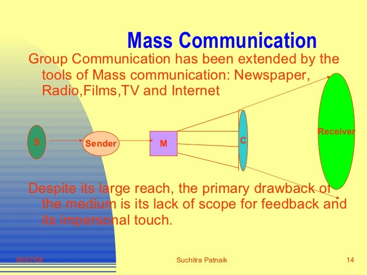 Mass Communication <ul><li>Group Communication has been extended by the tools of Mass communication: Newspaper, Radio,Film...