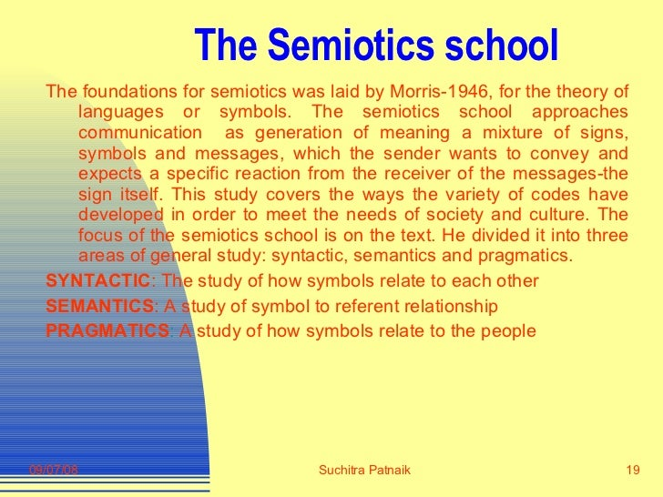 The Semiotics school <ul><li>The foundations for semiotics was laid by Morris-1946, for the theory of languages or symbols...