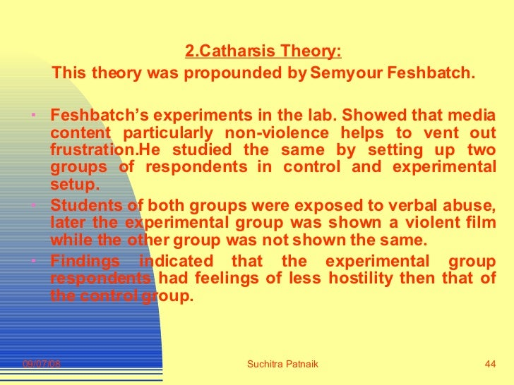 <ul><li>2.Catharsis Theory: </li></ul><ul><li>This theory was propounded by Semyour Feshbatch. </li></ul><ul><li>Feshbatch...