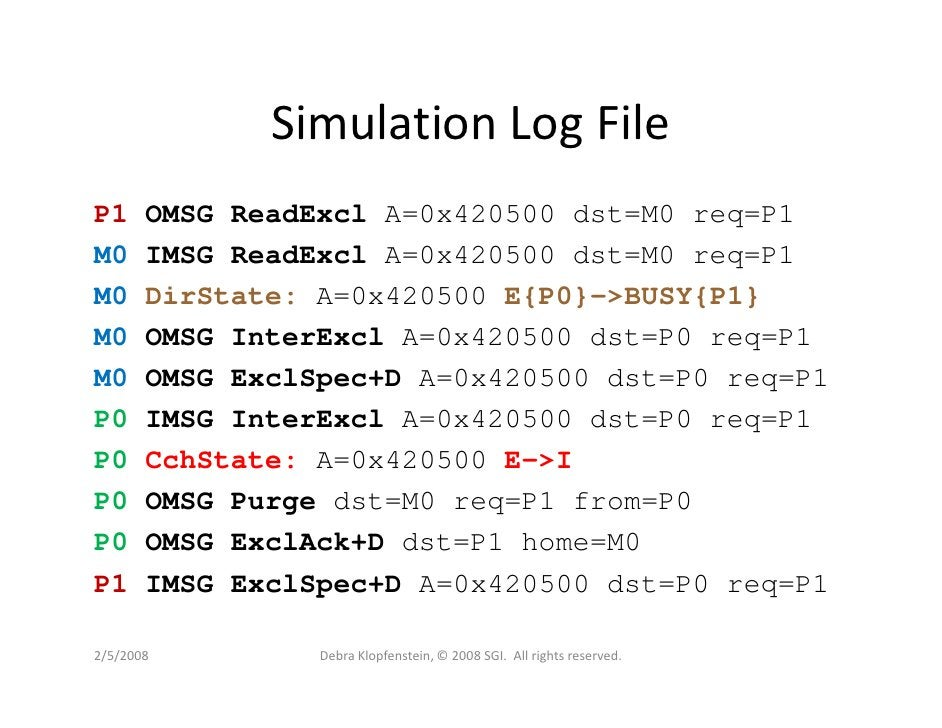 Simulation Log File P1     OMSG ReadExcl A=0x420500 dst=M0 req=P1 M0     IMSG ReadExcl A=0x420500 dst=M0 req=P1 M0     Dir...
