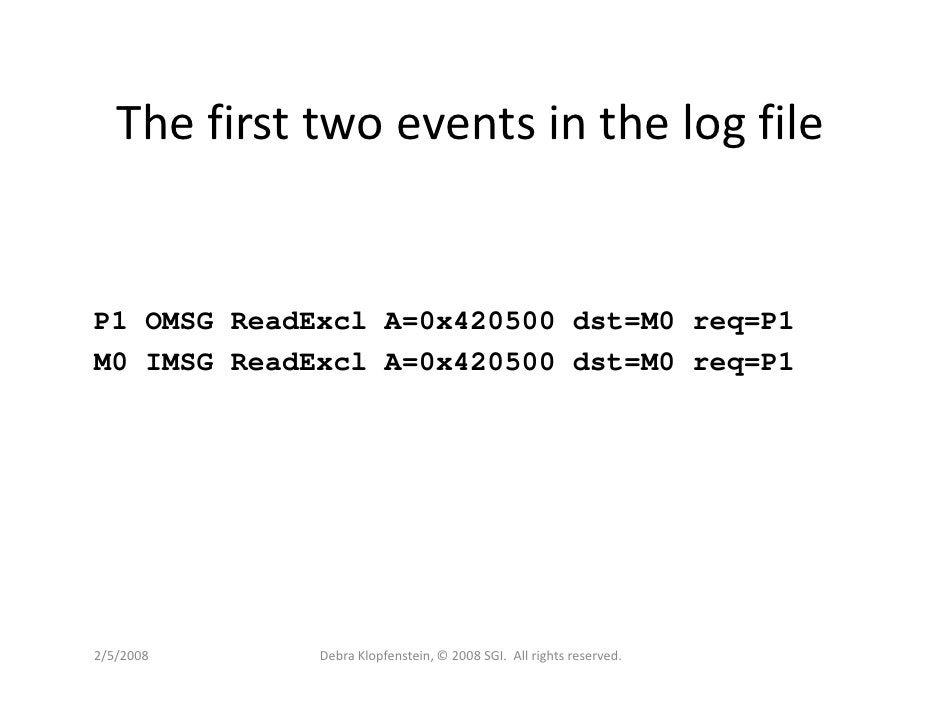 The first two events in the log file   P1 OMSG ReadExcl A=0x420500 dst=M0 req=P1 M0 IMSG ReadExcl A=0x420500 dst=M0 req=P1...