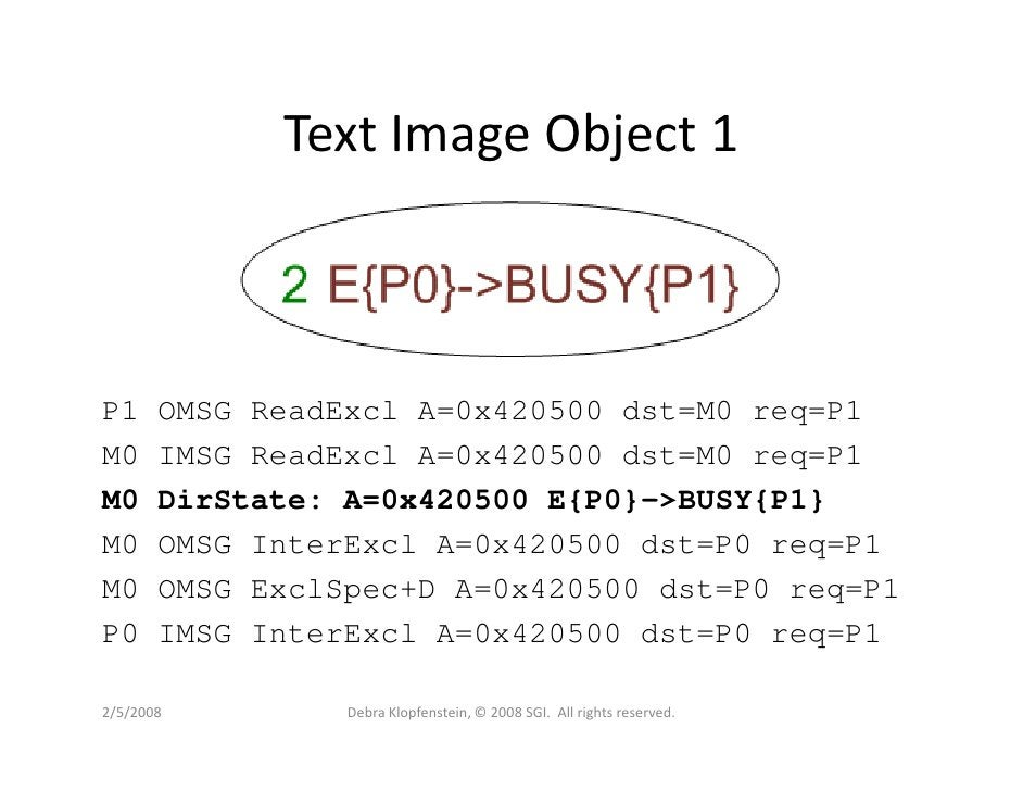 Text Image Object 1    P1     OMSG ReadExcl A=0x420500 dst=M0 req=P1 M0     IMSG ReadExcl A=0x420500 dst=M0 req=P1 M0     ...