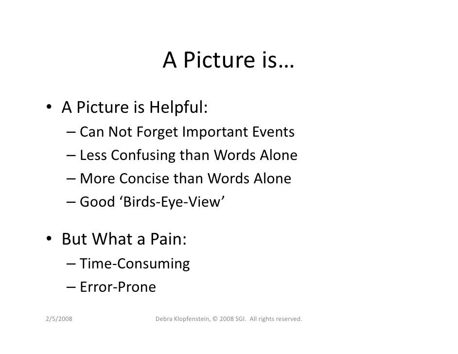A Picture is… • A Picture is Helpful:       – Can Not Forget Important Events       – Less Confusing than Words Alone     ...