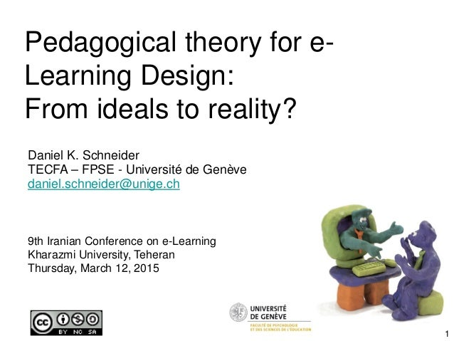 Pedagogical theory for e- Learning Design: From ideals to reality? Daniel K. Schneider TECFA – FPSE - Université de Genève...