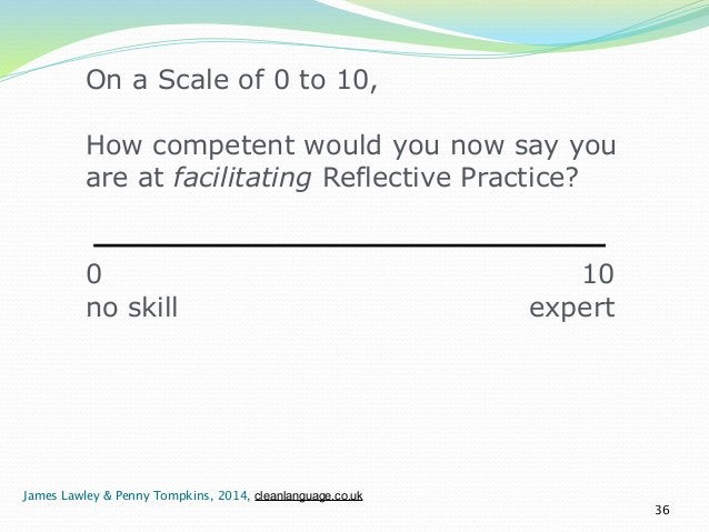 On a Scale of 0 to 10,  !  How competent would you now say you  are at facilitating Reflective Practice?  !  !  0 10  no s...