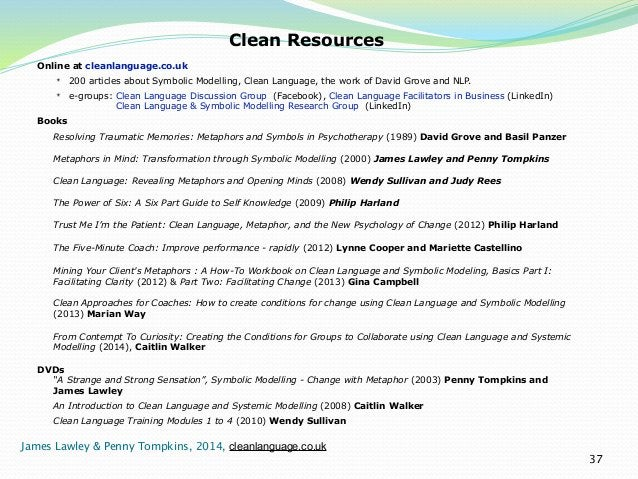 37  Clean Resources  Online at cleanlanguage.co.uk  ✴ 200 articles about Symbolic Modelling, Clean Language, the work of D...