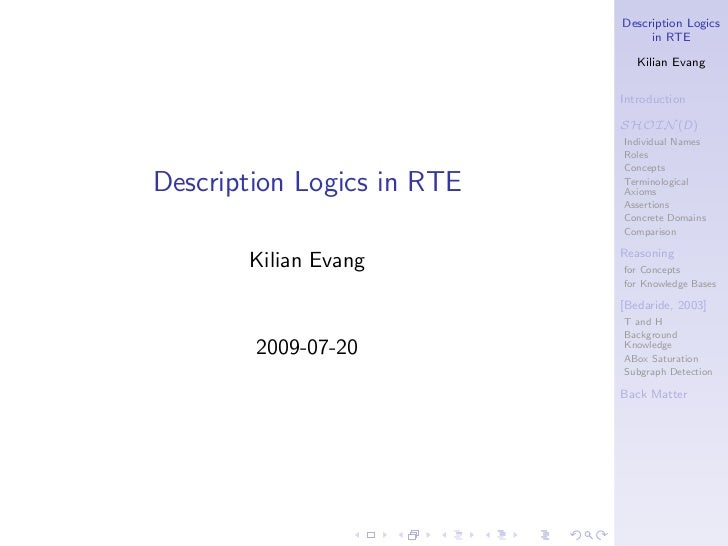 Description Logics                                 in RTE                               Kilian Evang                      ...
