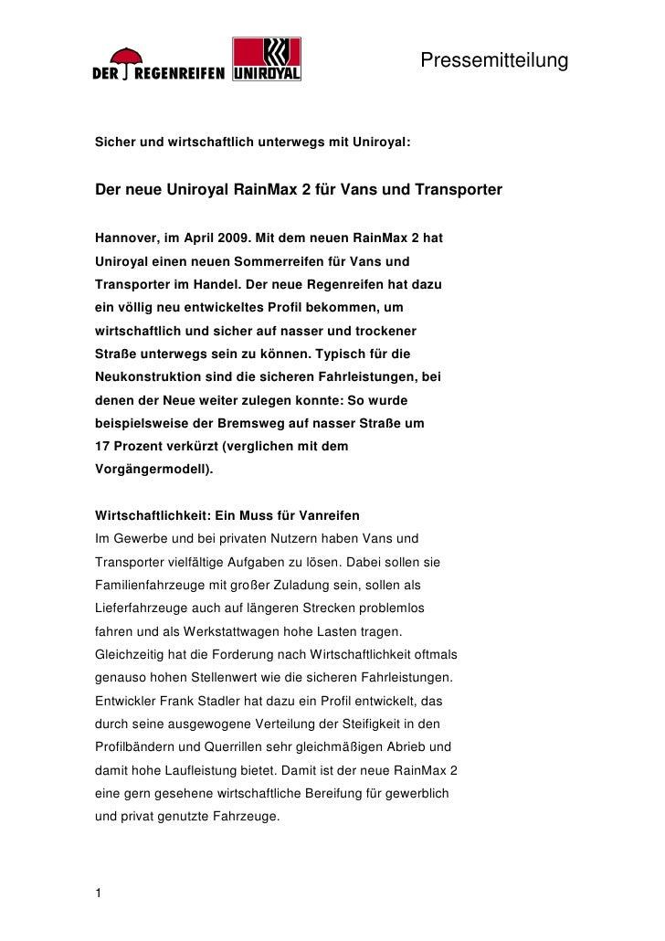 PressemitteilungSicher und wirtschaftlich unterwegs mit Uniroyal:Der neue Uniroyal RainMax 2 für Vans und TransporterHanno...