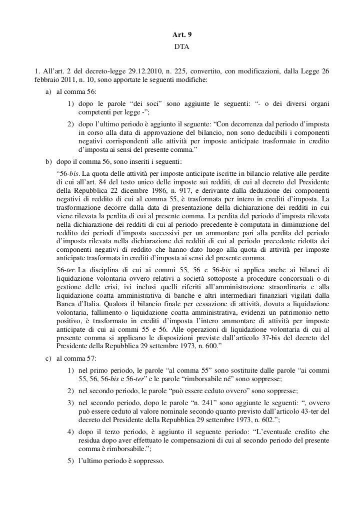 Il testo integrale del decreto legge del governo monti for Aggiunte alla legge
