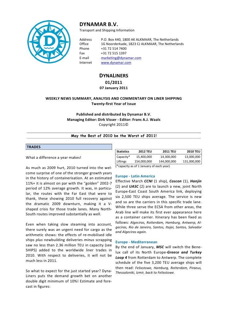 DYNAMAR B.V.                                Transport and Shipping Information                                Address     ...