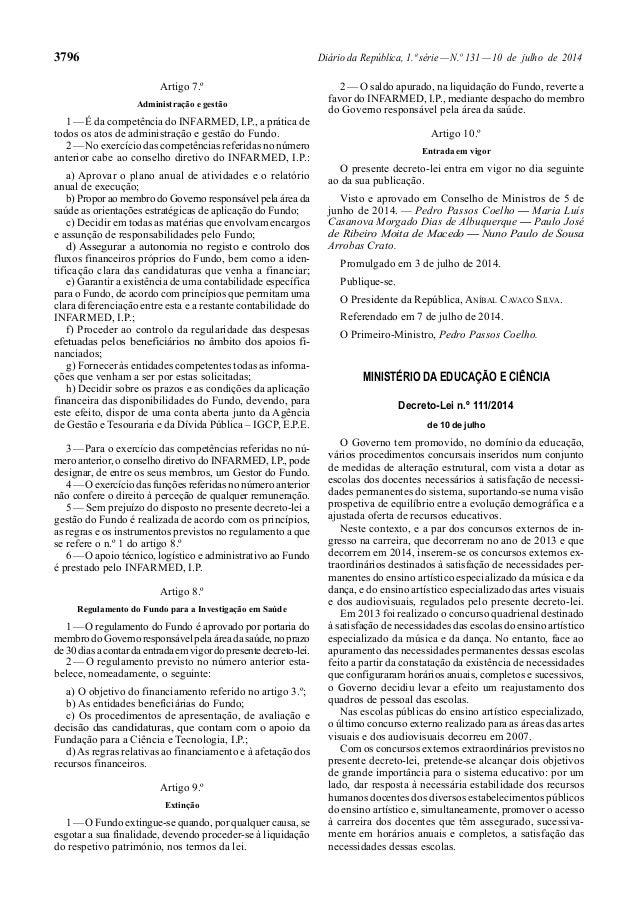 3796 Diário da República, 1.ª série—N.º 131—10 de julho de 2014 Artigo 7.º Administração e gestão 1—É da competência do IN...