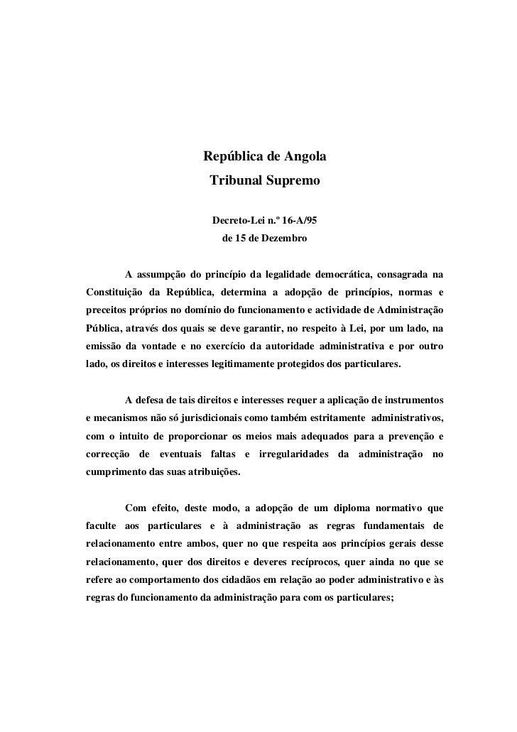 República de Angola                            Tribunal Supremo                             Decreto-Lei n.º 16-A/95       ...