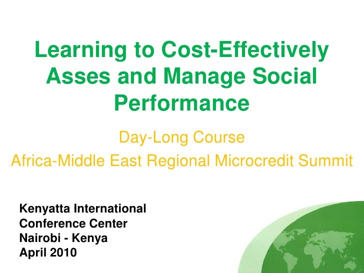 Learning to Cost-Effectively     Asses and Manage Social           Performance                Day-Long Course Africa-Middl...