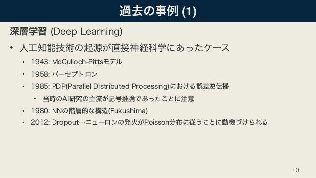 過去の事例 (1) 深層学習 (Deep Learning) • 人工知能技術の起源が直接神経科学にあったケース • 1943: McCulloch-Pittsモデル • 1958: パーセプトロン • 1985: PDP(Parallel D...
