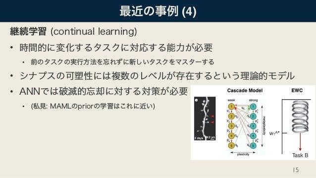 最近の事例 (4) 継続学習 (continual learning) • 時間的に変化するタスクに対応する能力が必要 • 前のタスクの実行方法を忘れずに新しいタスクをマスターする • シナプスの可塑性には複数のレベルが存在するという理論的モデ...
