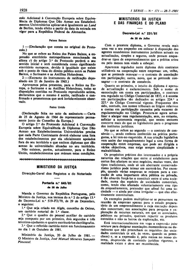 """I 928  I SÉRIE -- N. """" 17/ - 28-7-1981     colo Adicional à Convenção Europeia sobre Equiva- lência de Diplomas Que Dão Ac..."""