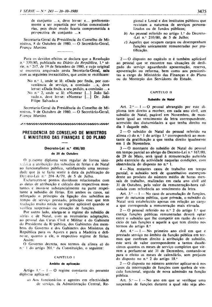 D.L. n.º496/80 de 20 Outubro