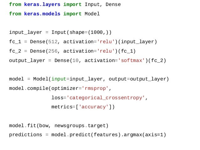 from keras.layers import Input, Dense from keras.models import Model input_layer = Input(shape=(1000,)) fc_1 = Dense(512, ...
