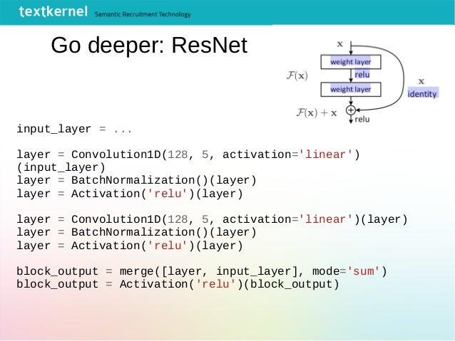 Go deeper: ResNet input_layer = ... layer = Convolution1D(128, 5, activation='linear') (input_layer) layer = BatchNormaliz...