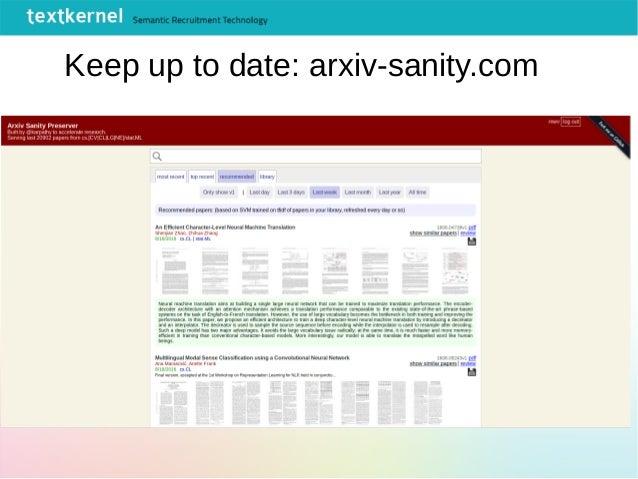 Keep up to date: arxiv-sanity.com