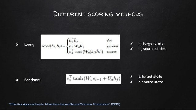 """Different scoring methods """"Effective Approaches to Attention-based Neural Machine Translation"""" (2015) ✘ Luong ✘ Bahdanau ✘..."""