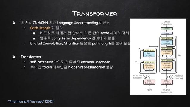 "Transformer ""Attention is All You need"" (2017) ✘ 기존의 CNN/RNN 기반 Language Understanding의 단점 ○ Path-length 가 멀다 ■ 네트워크 내에서 한..."