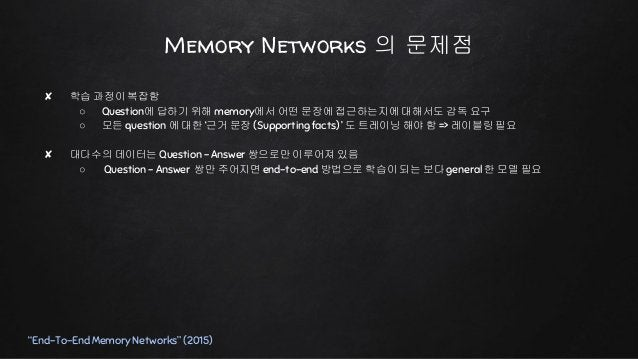 """End-To-End Memory Networks """"End-To-End Memory Networks"""" (2015)"""