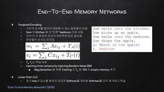 Key-Value Memory Networks ✘ Large Scale QA ○ 모든 지식을 책으로 읽기보다는 미리 잘 정리된 표를 참고하자! ○ Question Answering 문제를 풀 때 ■ Raw Text 보다...